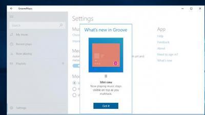 Win10 Groove Music应用是获取新的迷你视图