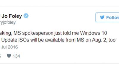 微软发言人:Win10一周年更新官方ISO镜像8月2日放出