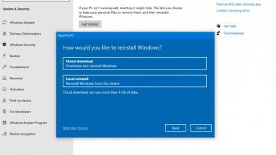 Win10 20H1将提供云下载选项以恢复操作系统
