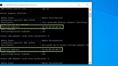 如何在Windows 10中查找MAC地址