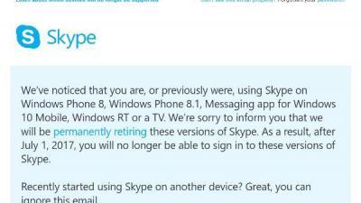 微软宣布Skype将从7月1日起停止旧系统支持