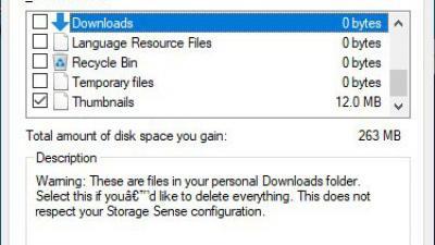 Win10的磁盘清理获取关于下载文件夹的新警告