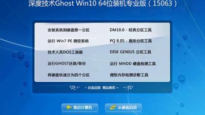 深度技术Ghost Win10 64位装机专业版(15063)