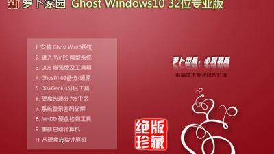新萝卜家园Ghost Windows10 32位专业版(15063.502)