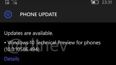 Windows10 Mobile稳定版10586.494升级截图曝光